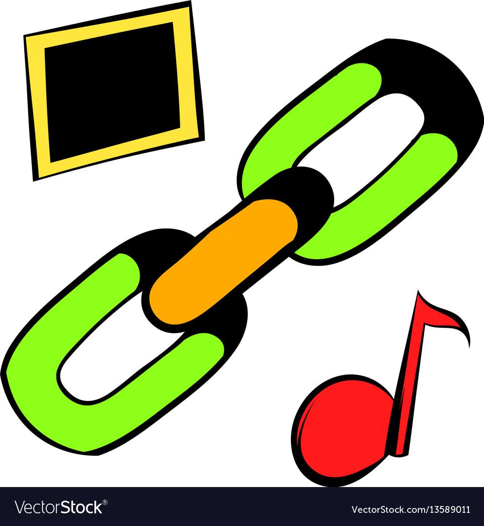 Chain link icon icon cartoon