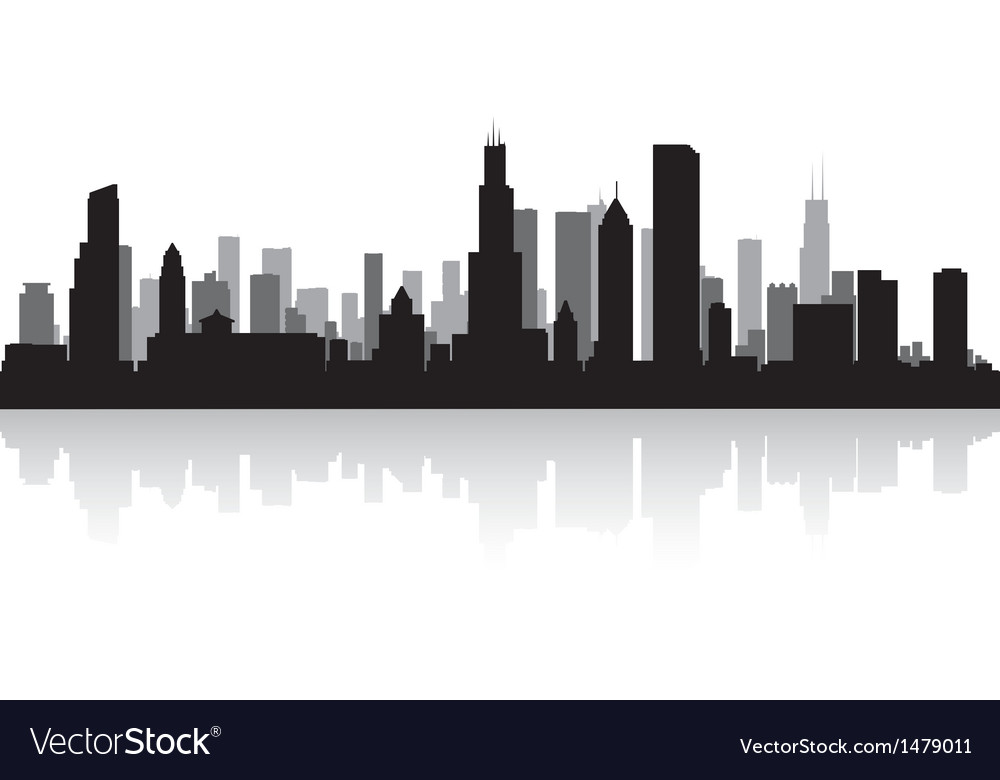 chicago usa city skyline silhouette royalty free vector