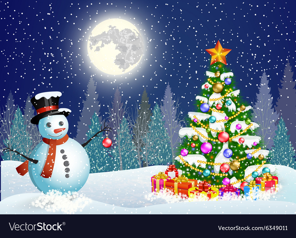 Cute snowman decorating a Christmas tree