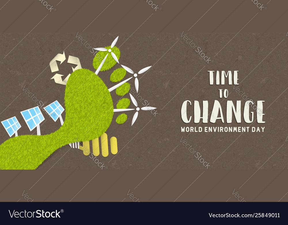Environment day banner green carbon footprint