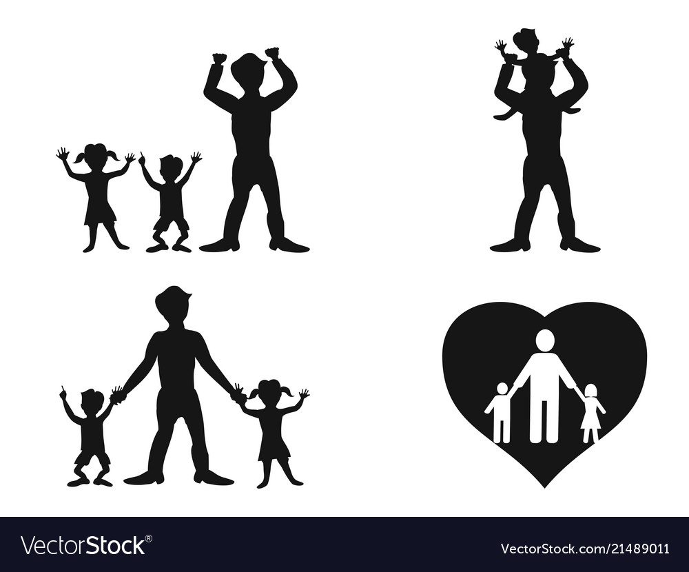 Father with kids silhouette