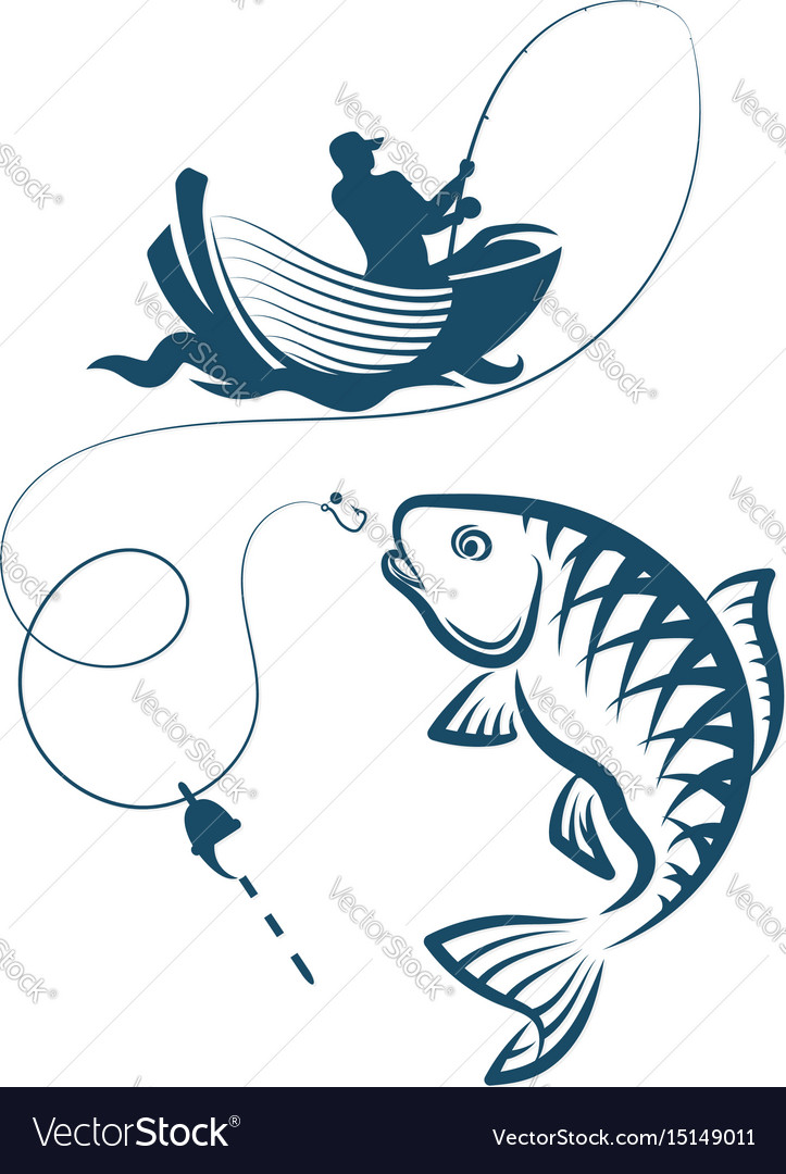 Fisherman catches a fish vector image
