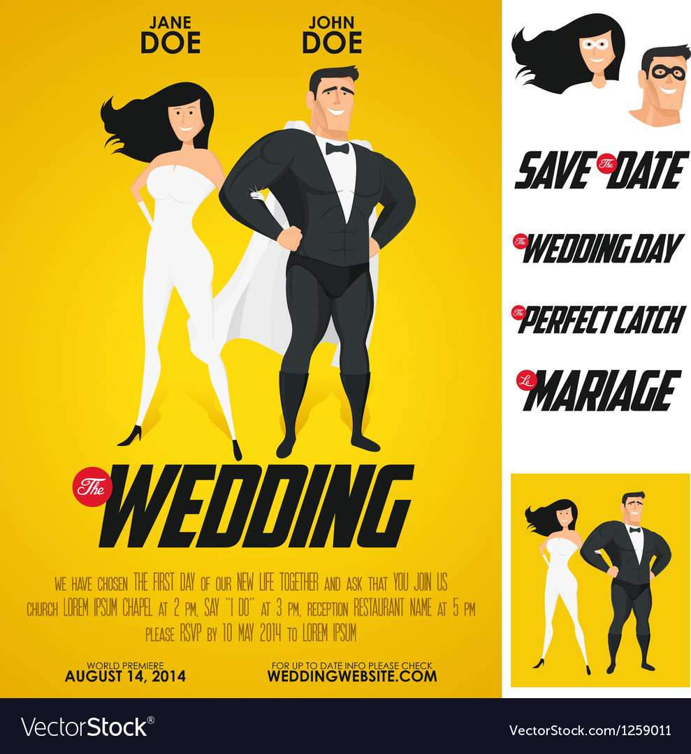 Funny super hero movie poster wedding invitation vector image stopboris Image collections