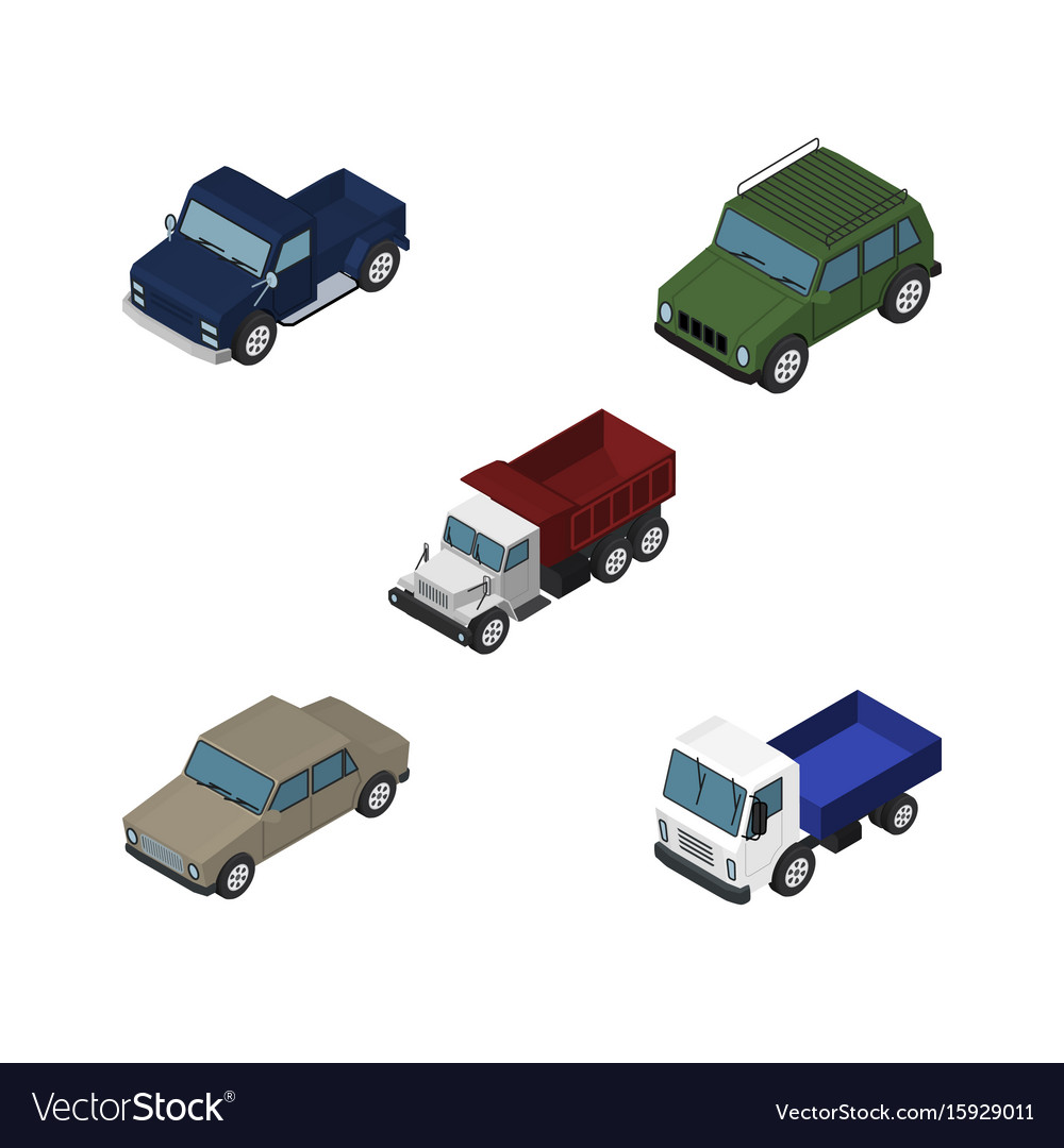 Isometric automobile set of armored lorry suv
