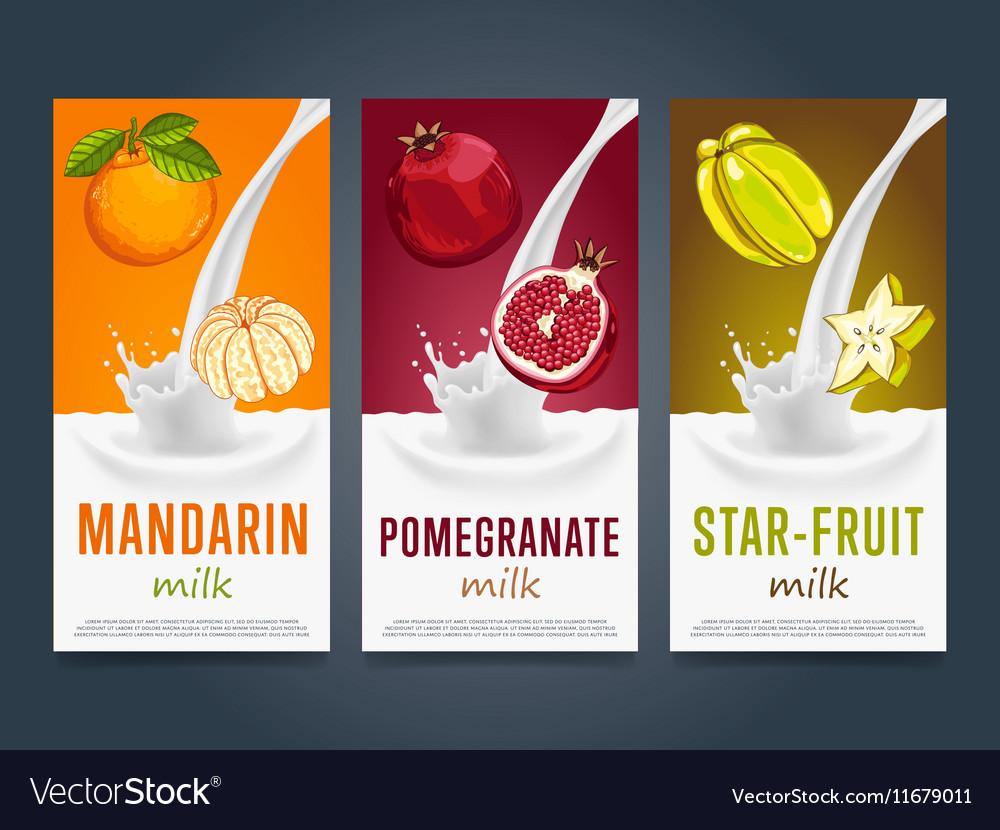 Milkshake concept with milk splash and fruit