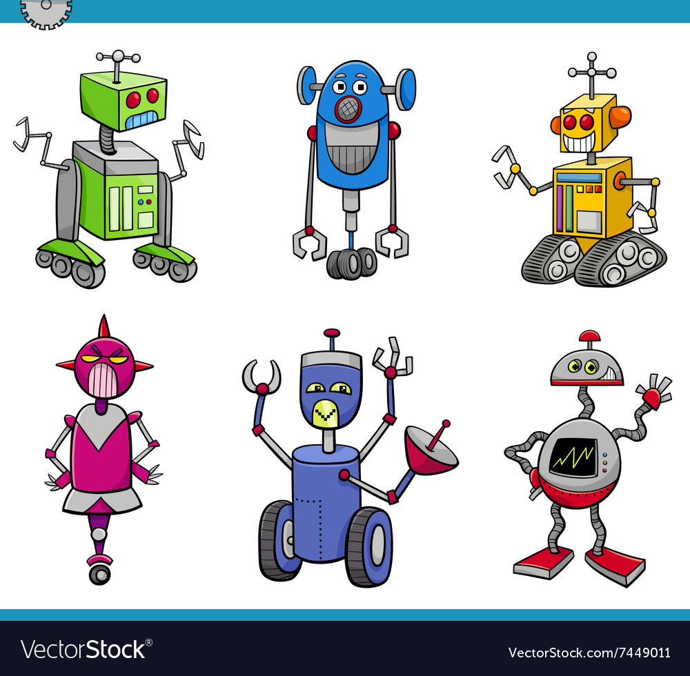 Robot characters cartoon set vector image