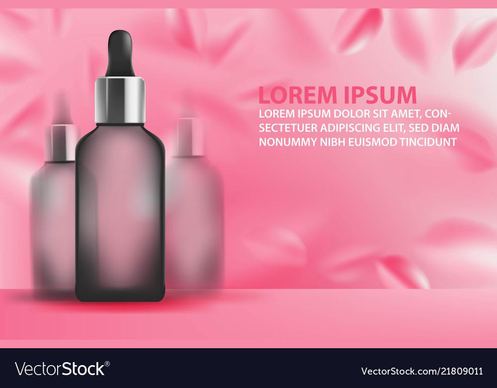 Serum essence with dropper in bottle petal rose