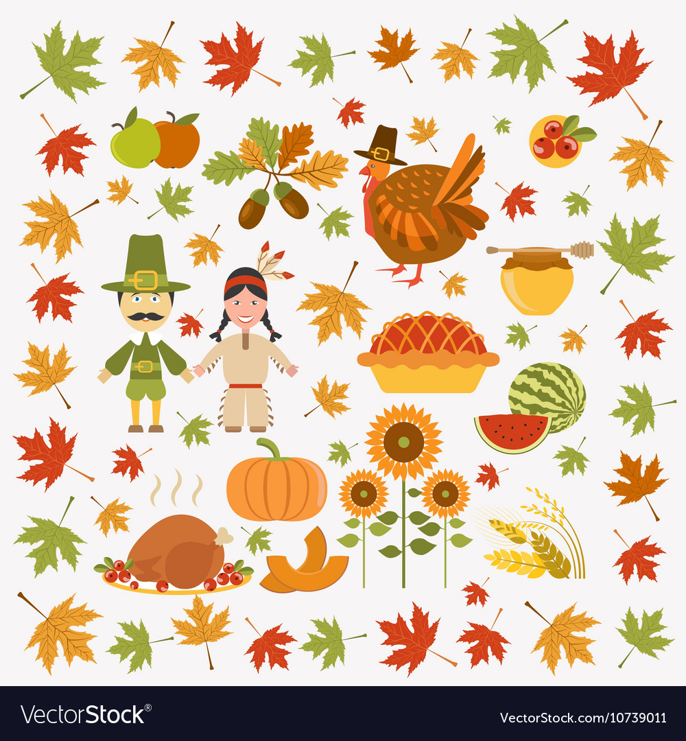 Thanksgiving day icon set Flat style