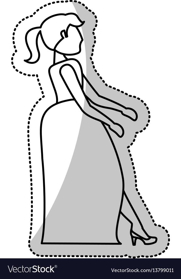 Woman bride wedding outline