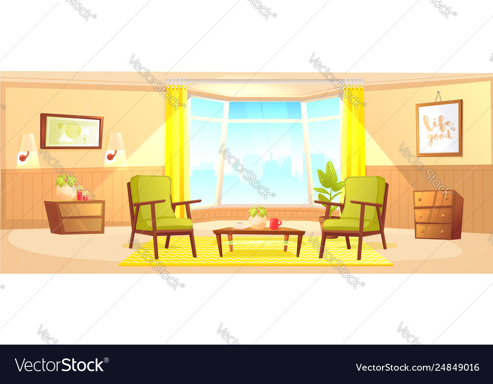 Classic Living Room Home Interior Design Banner Vector Image