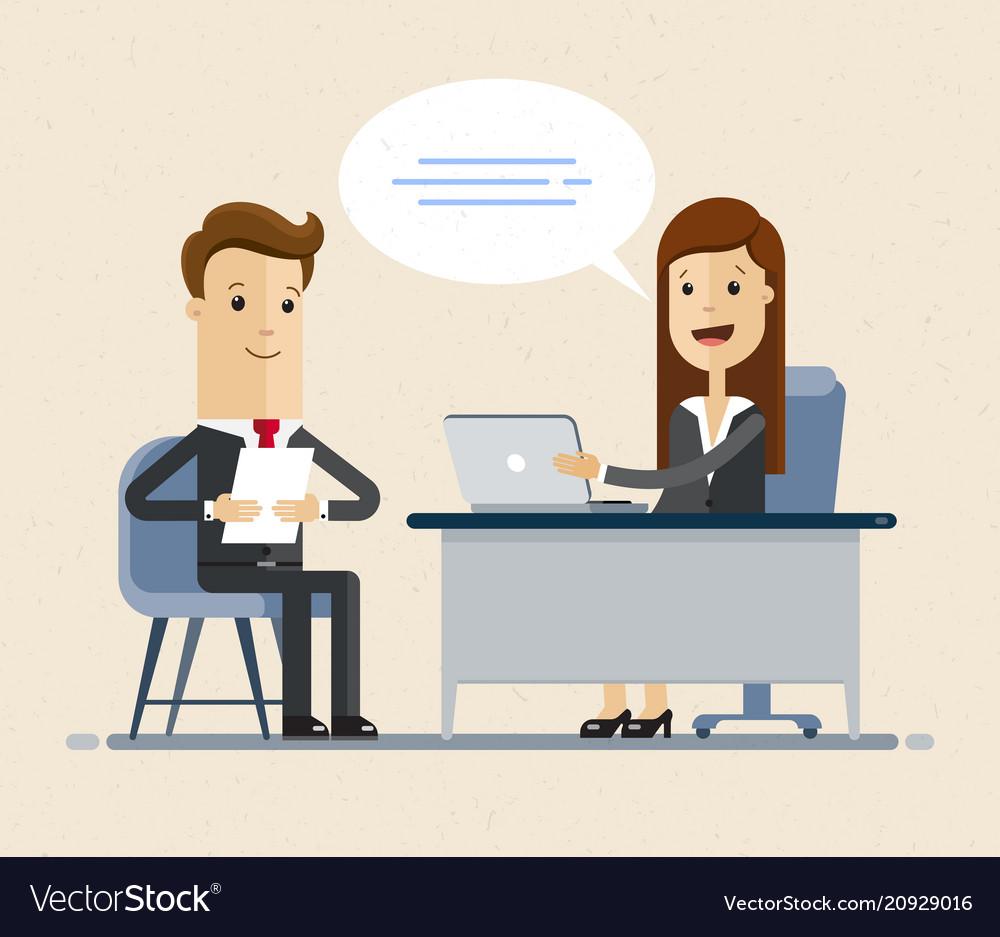Concept of job interview women in flat