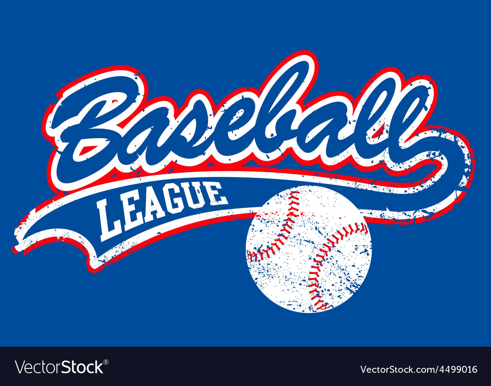 Distressed baseball script with a baseball vector image