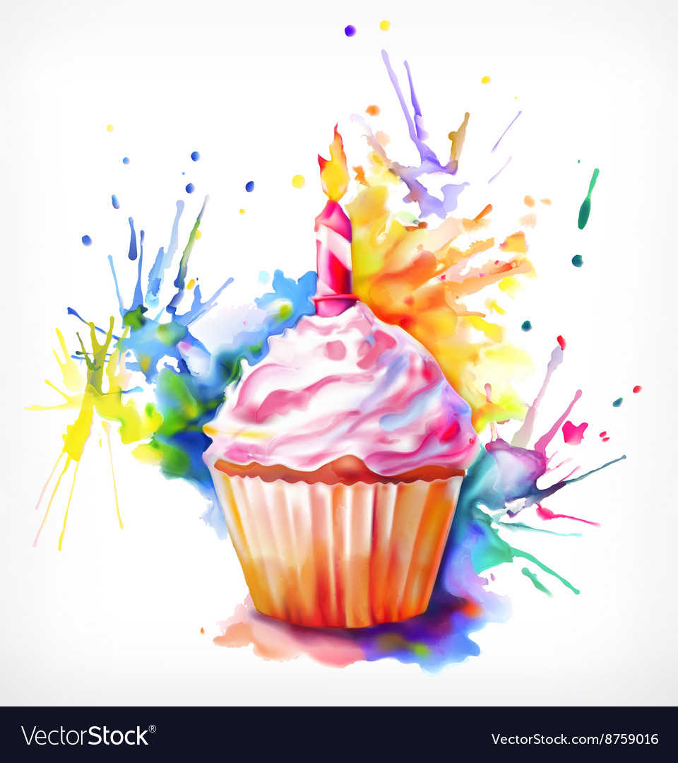 Festive cupcake with candle vector image
