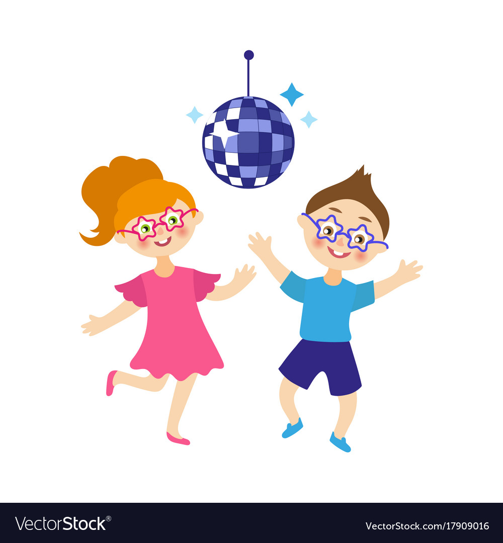 Flat Boy And Girl Dancing At Party Vector Image