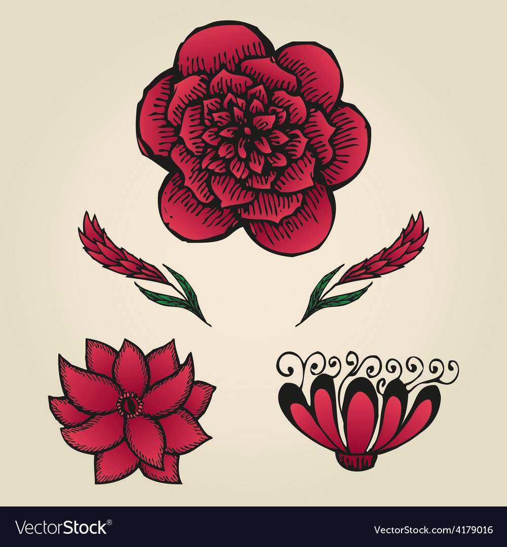Floral doodling flowers set in tattoo style