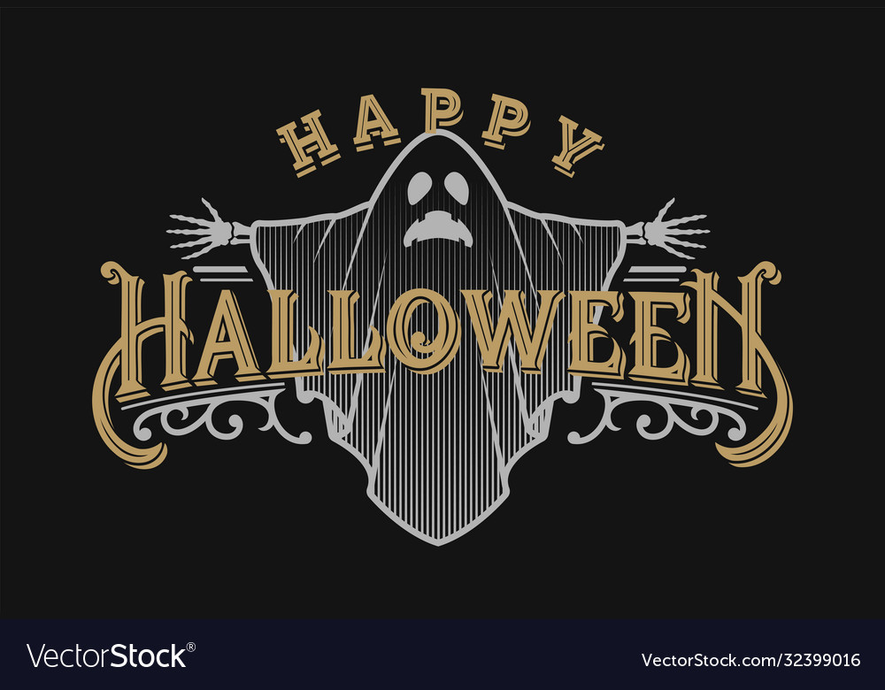 Halloween night vintage style emblem on a dark