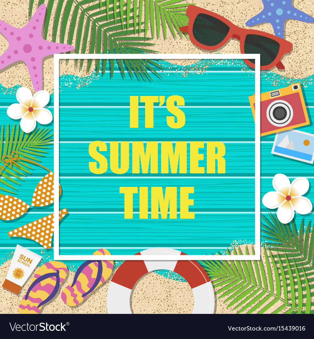 its summer time background summer template vector image