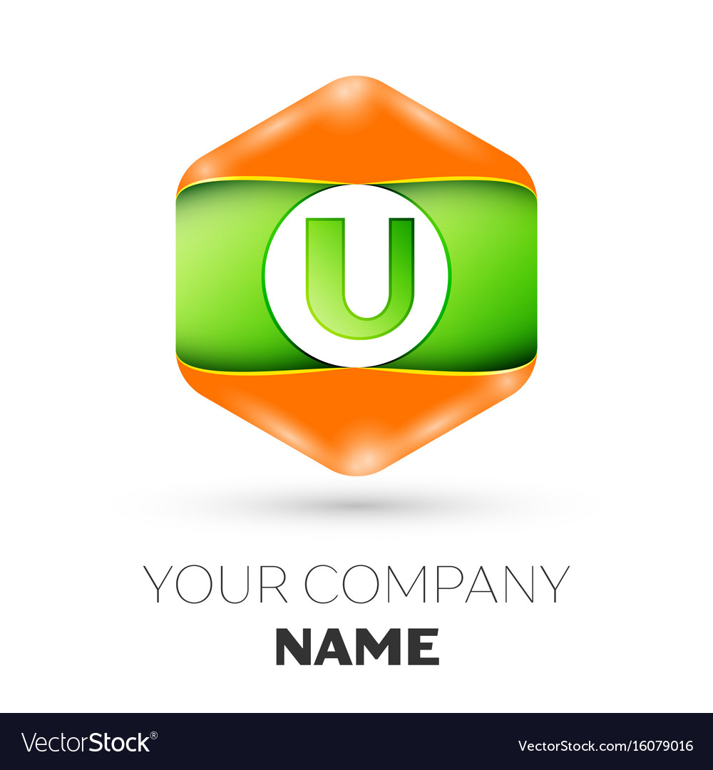 Letter u logo in the colorful hexagonal