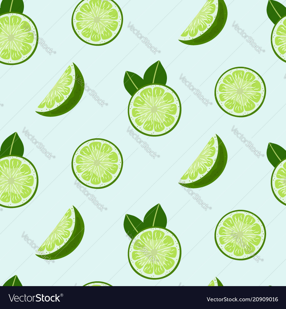 Lime slices and leaves seamless pattern