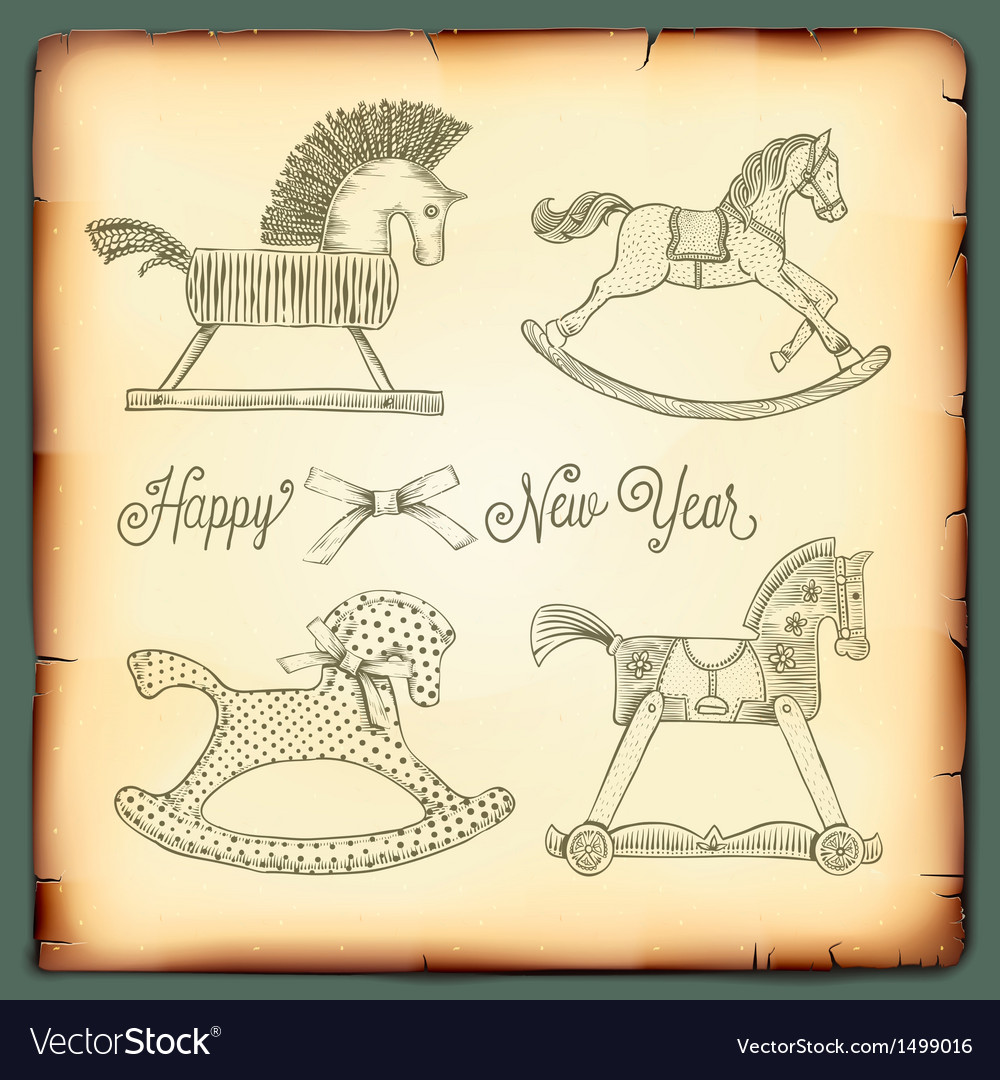 New Year vintage card with rocking toys horses vector image