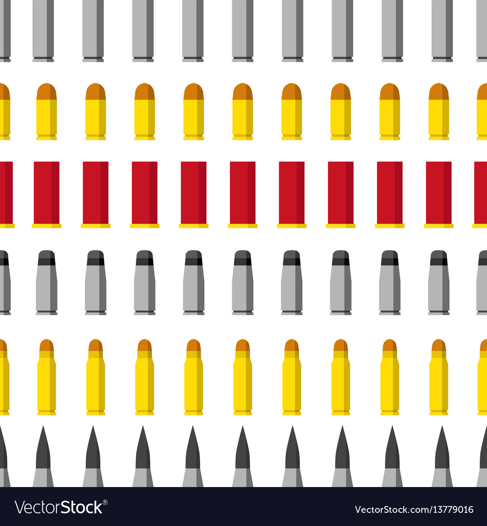 Pattern of different caliber bullets ammunition