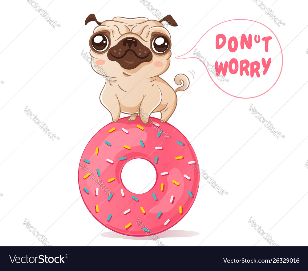 Pug and donut in kawaii style
