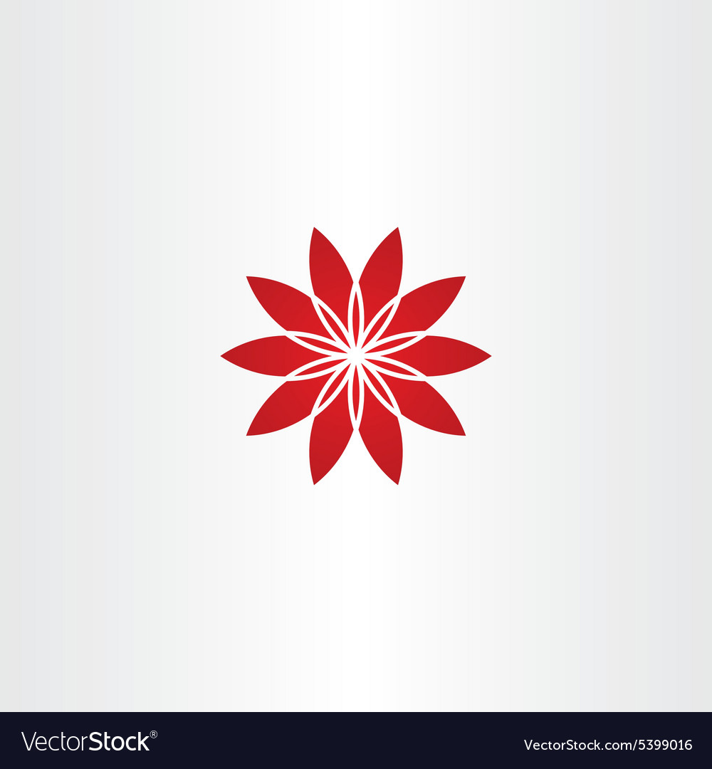 Red flower star icon