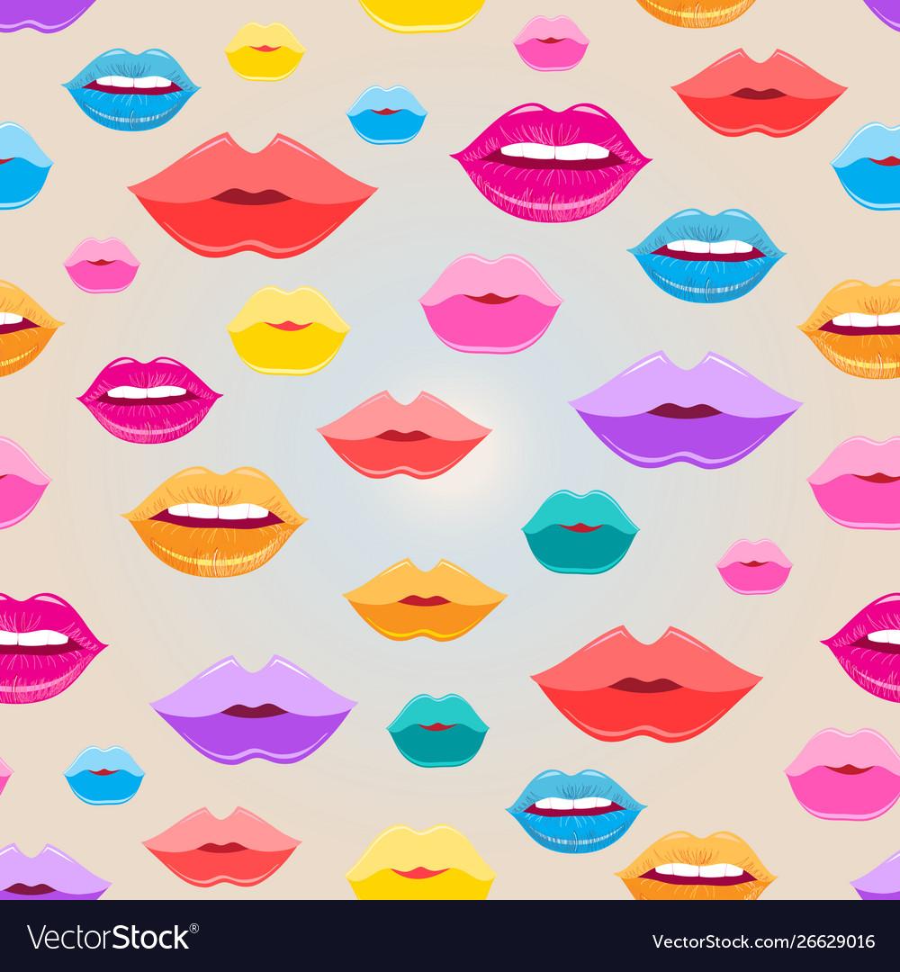 Seamless pattern lips