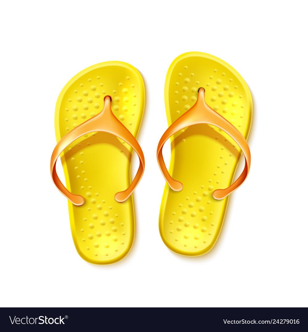 cb12089e6dee Yellow flip flops beach footwear slippers Vector Image