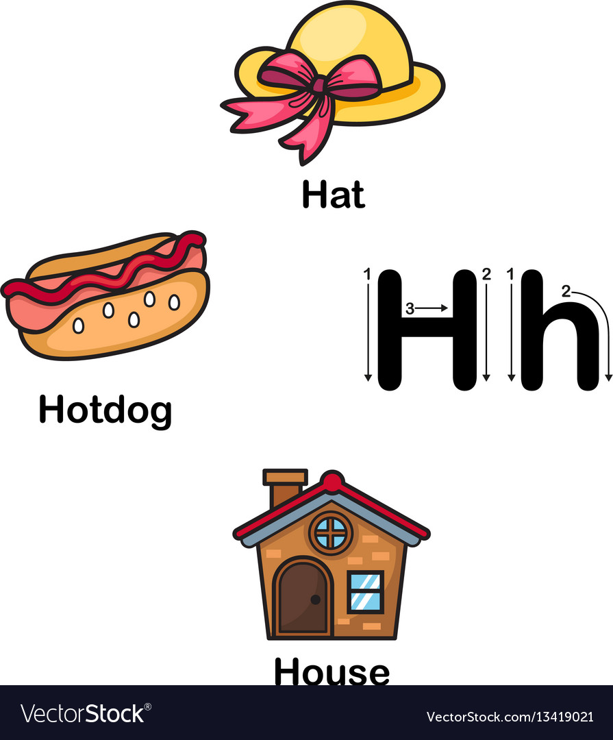 Alphabet letter h-hat hotdog house