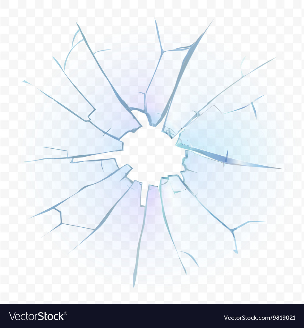 Broken transparent glass or frosted window pane on