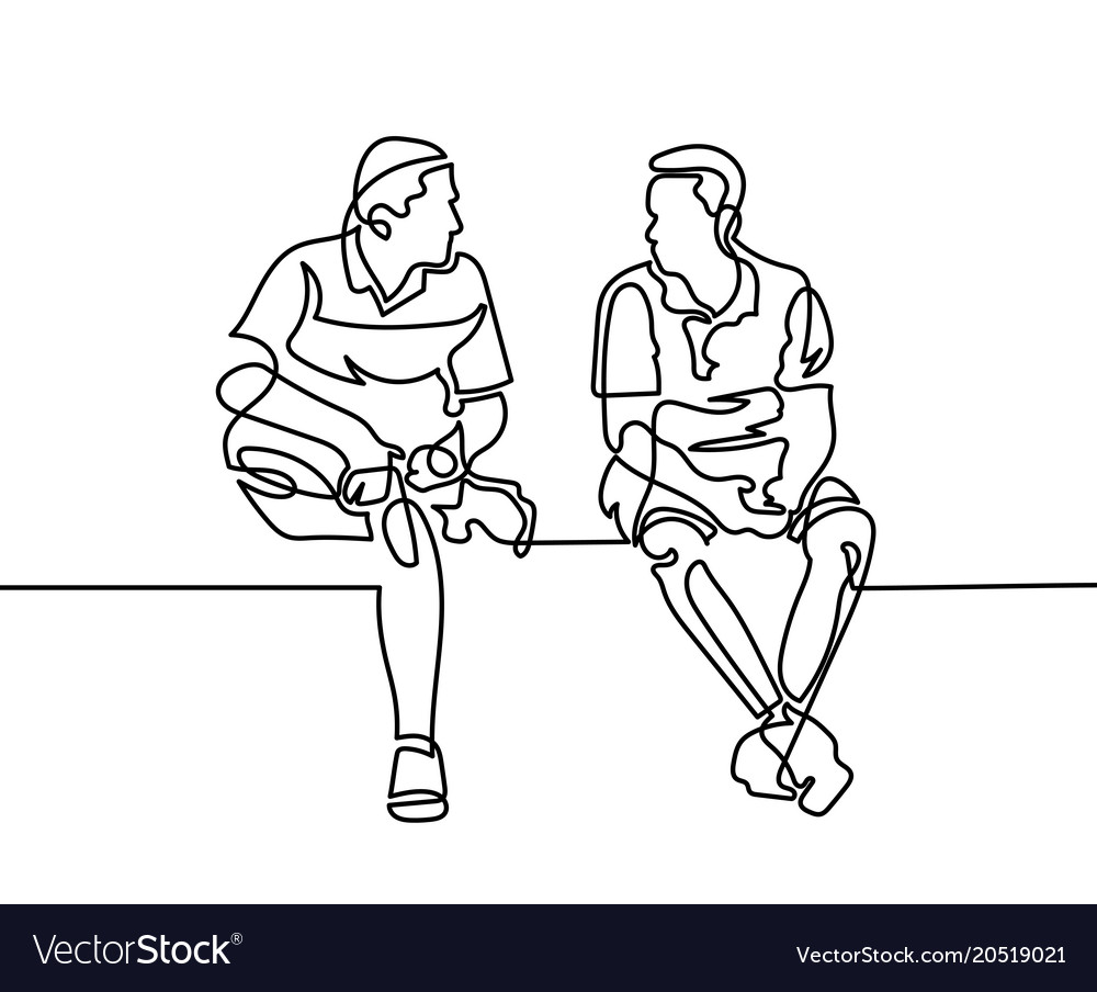 Continuous one line drawing of two men sit and vector image
