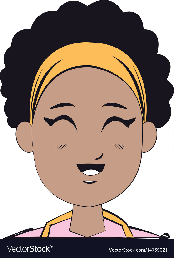 Face young afro girl smiling expression