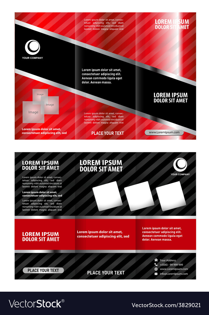 Red Brochure Tri Fold Template Royalty Free Vector Image