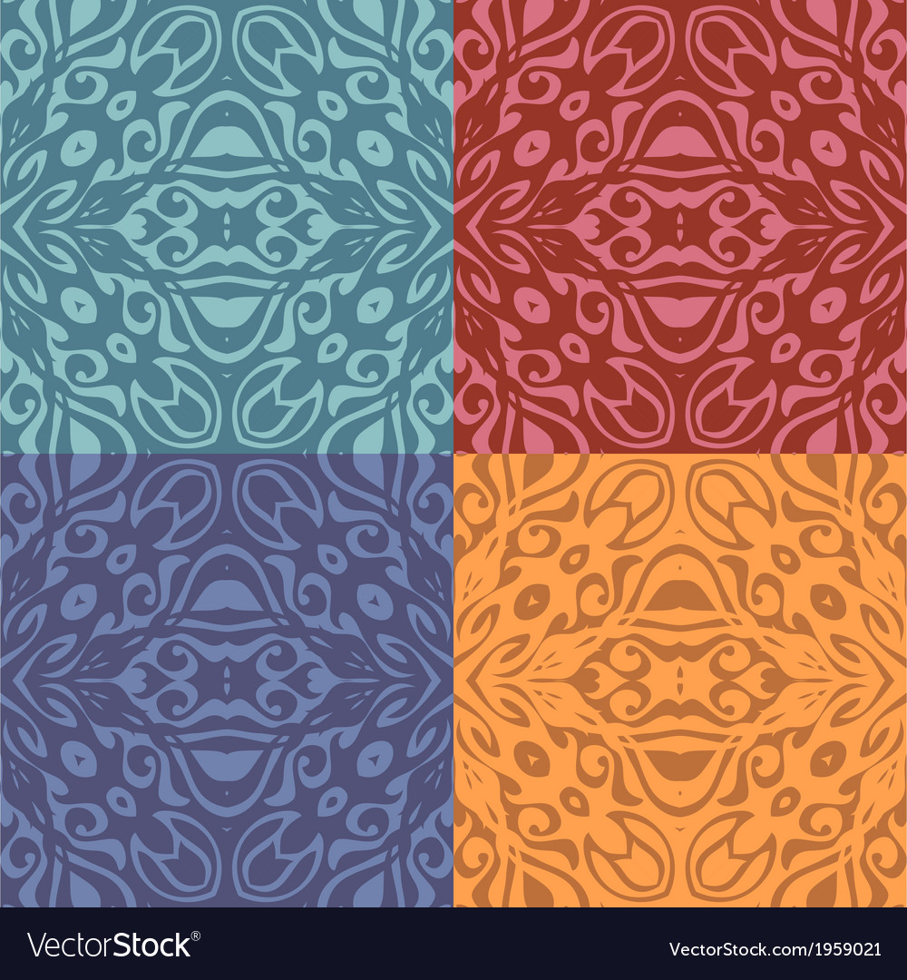 Set of colorful patterns seamlessly tiling