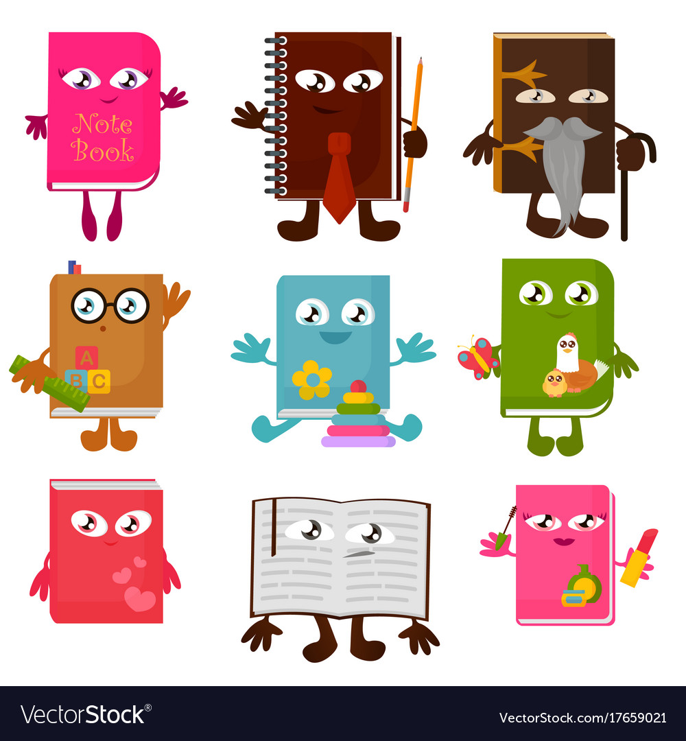 Set of funny book characters
