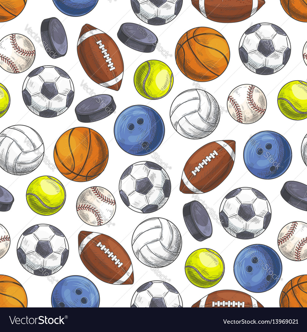 Sport seamless pattern with sketch game balls