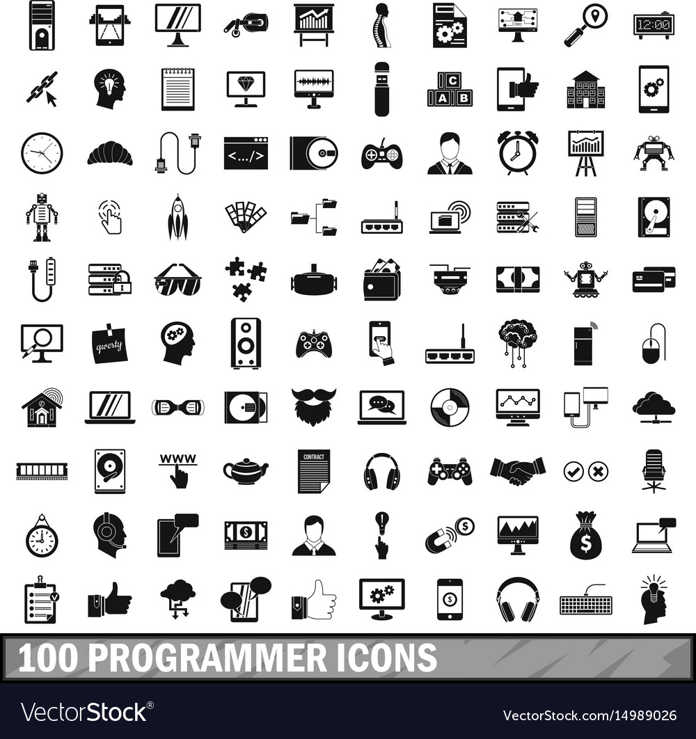 100 programmer icons set simple style vector image