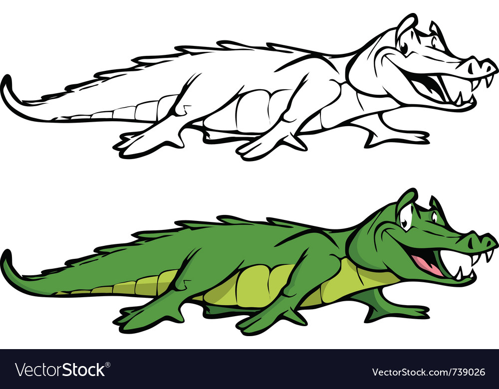 Alligator coloring book Royalty Free Vector Image