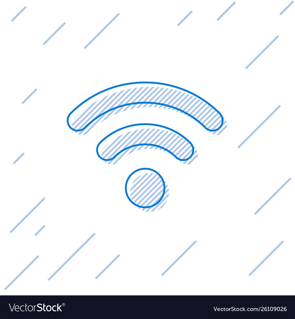 Blue wi-fi wireless internet network symbol line