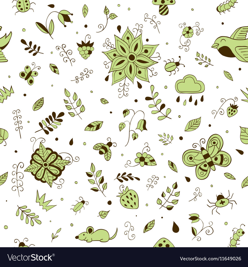 Cute hand drawn floral seamless summer forest