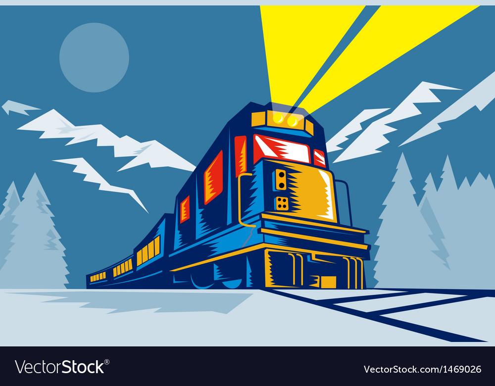 Diesel train locomotive retro winter scene