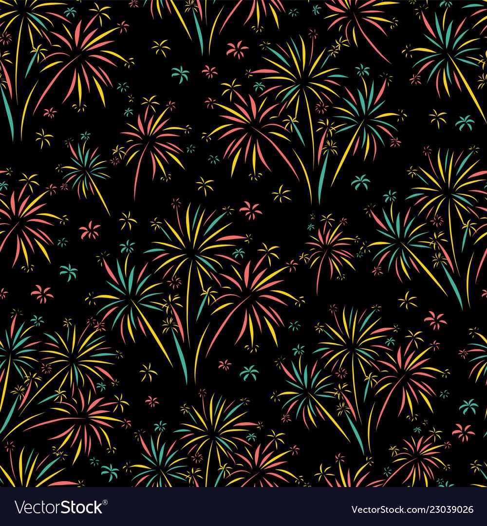 Firework seamless pattern isolated