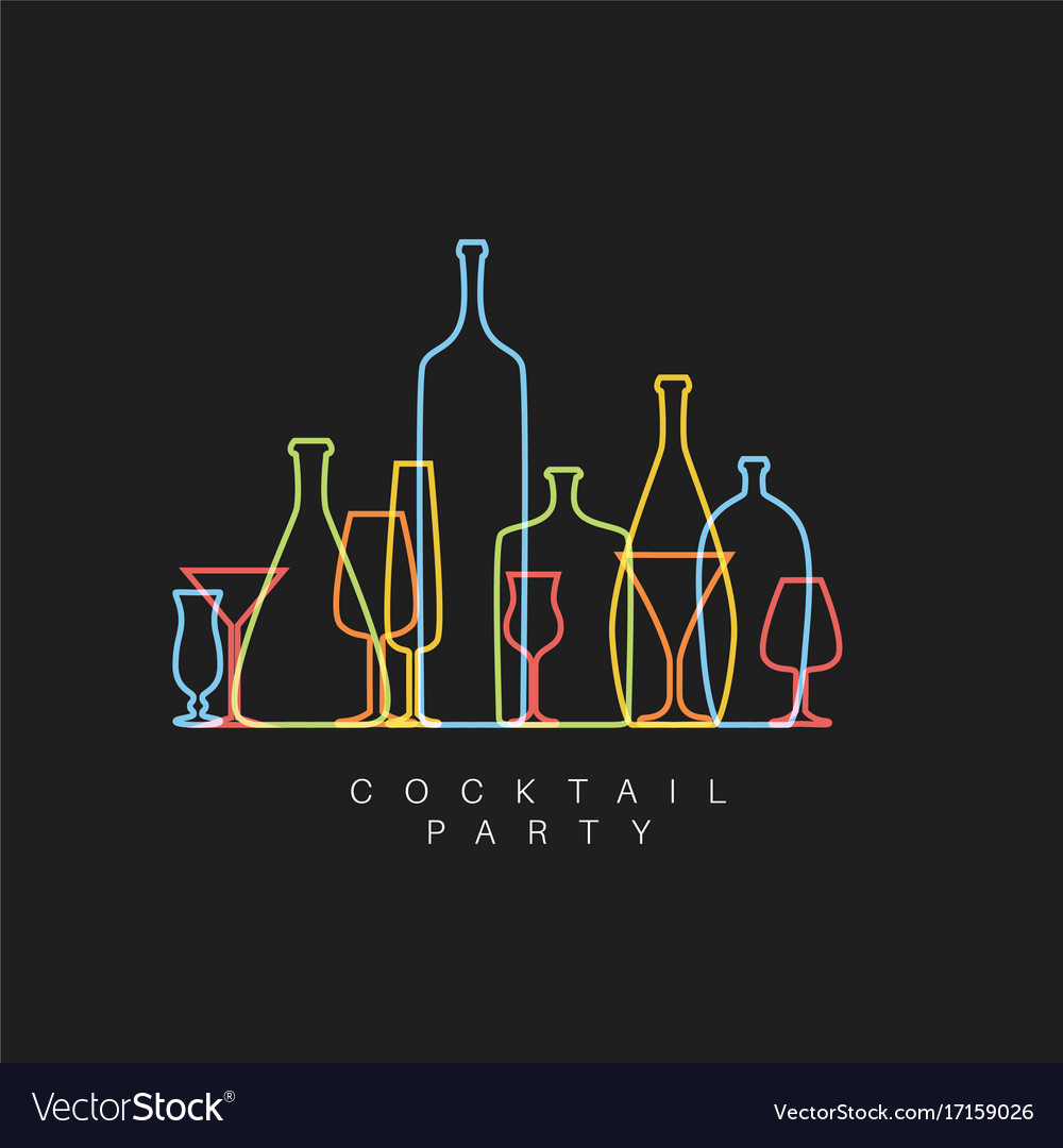 Fresh Cocktail Party Invitation Card With Glasses