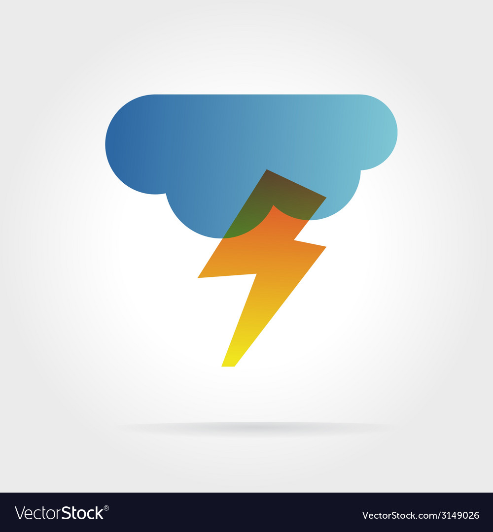 Lightning icon with cloud concept for design
