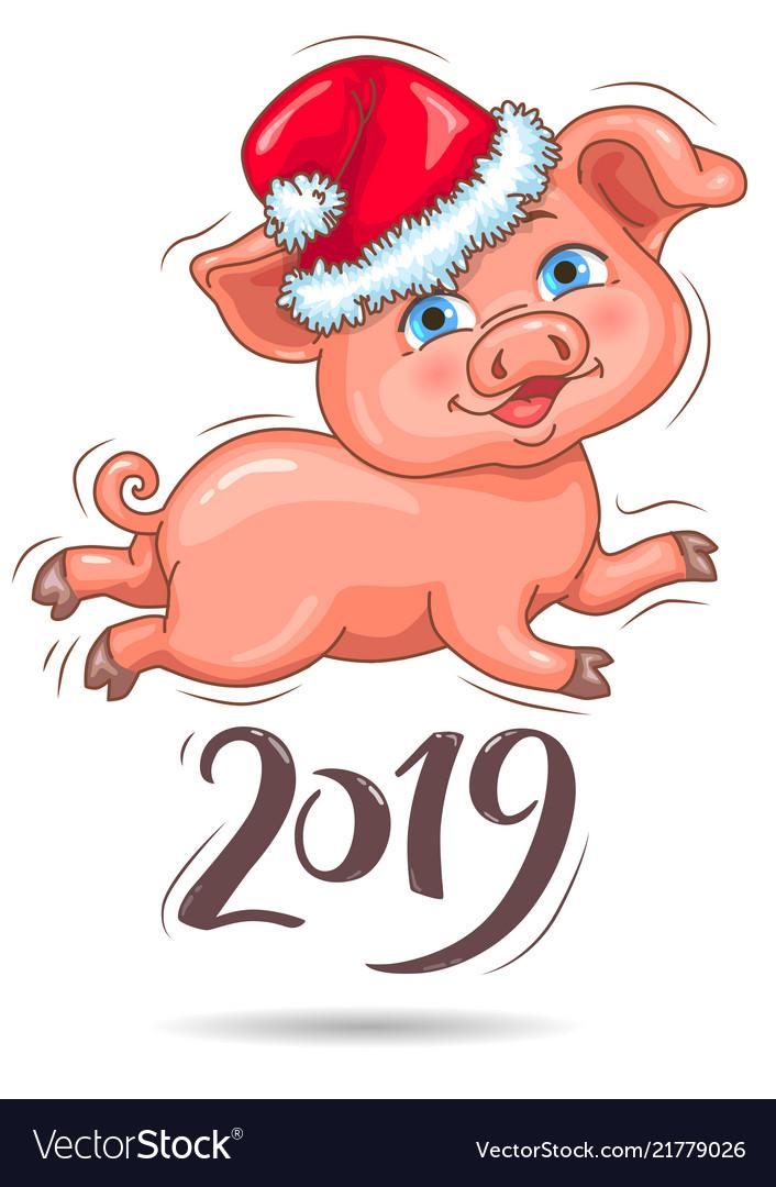 Little cute piggy in santas hat 2019 new year