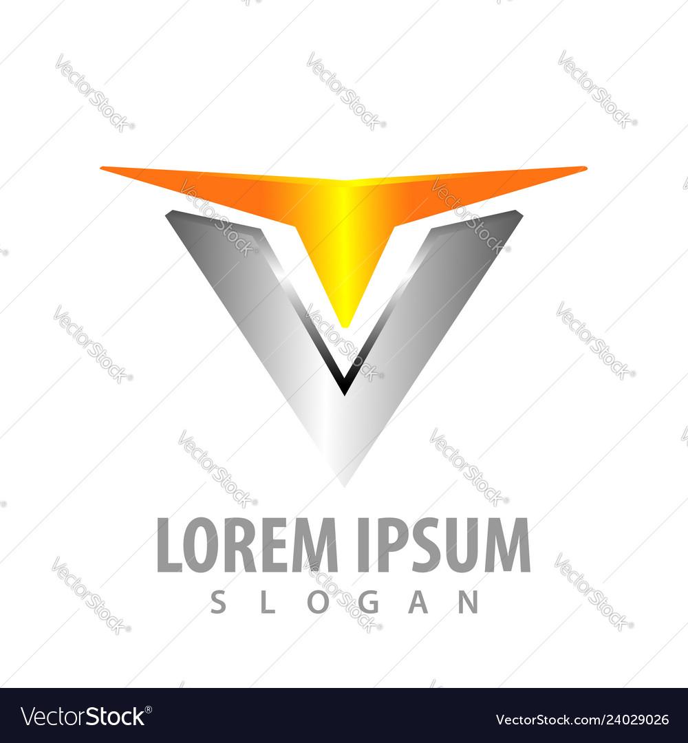 Logo concept design initial letter v shiny style