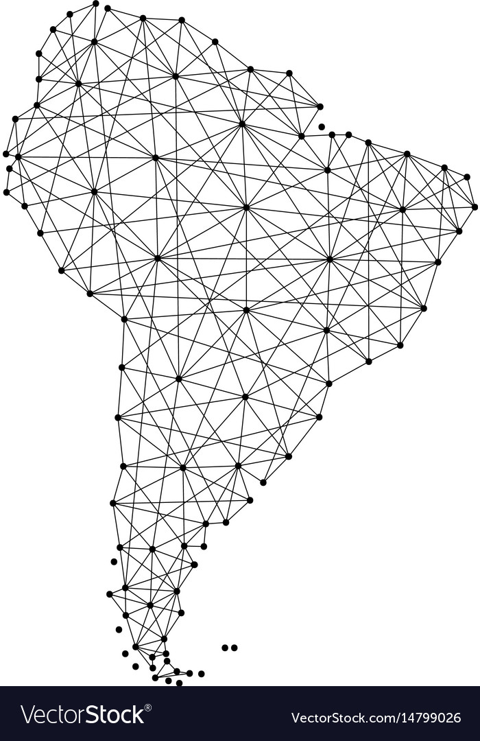 Map of south america from polygonal black lines