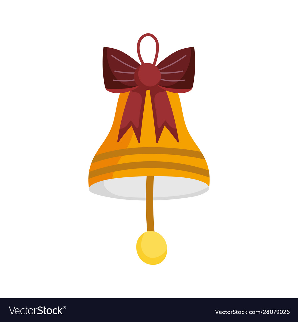 Merry christmas celebration gold bell with bow