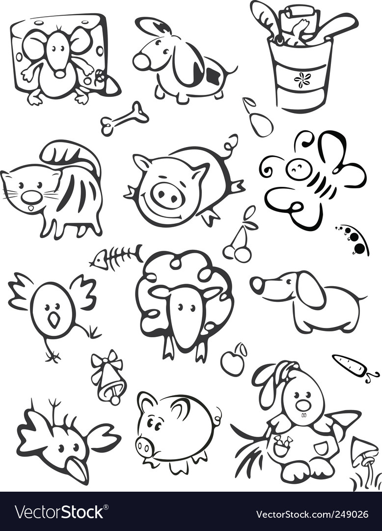 Silhouette of cute animals for vector image